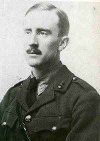 J. R. R. Tolkien in . He is wearing a WWI-era British Army uniform in this photograph.