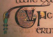 Almost all of the folios of the Book of Kells contain small illuminations like this decorated initial.