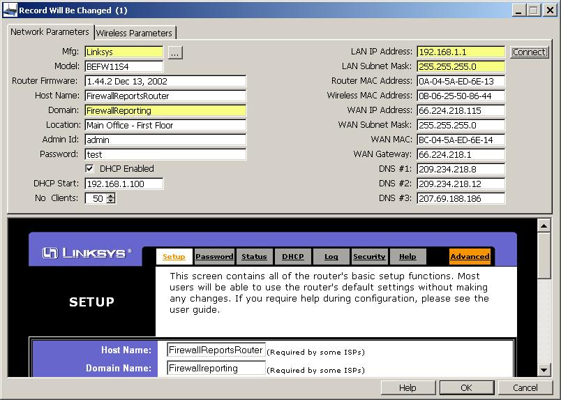 WEP Key - Entry form for router and network parameters