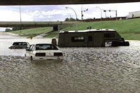 Cars in Edmonton were almost submerged as ice blocked storm sewers.