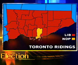 This map illustrates the ridings in Toronto.
