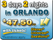 47.50 per night Orlando hotel special! Call 800-749-4045