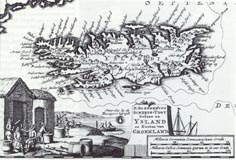 An old map of Iceland with a picture of Basque Whaling Camp in Strandir