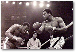 photo and poster from 1975 Frazier and Ali heavyweight fight in Manila: click for more information about these images