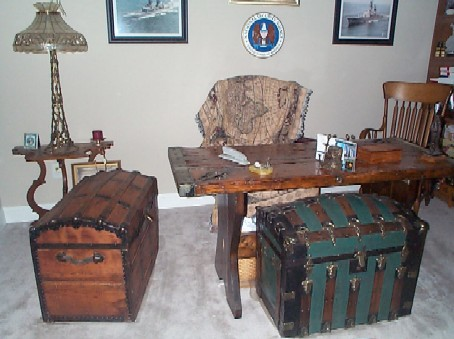 liberty ship wooden hatch cover desk and treasure chest