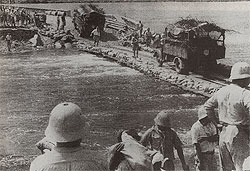 Japanese repair the Johore causeway 1942
