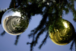 REFLECTION OF ST. PETER'S BASILICA SEEN ON ORNAMENT – St. Peter's Basilica is seen reflected on a Christmas ornament hanging on the Christmas tree in St. Peter's Square at the Vatican last December. (CNS/Reuters)