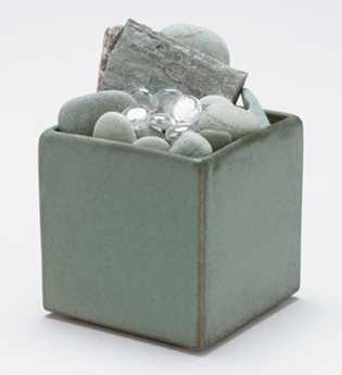 Tabletop Fountain / Ceramic Cube - Lichen