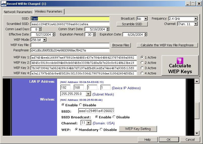 WEP Key - Entry form for wireless parameters