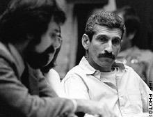 Angelo Buono Jr., right, attends a pretrial hearing on April 22, 1981.