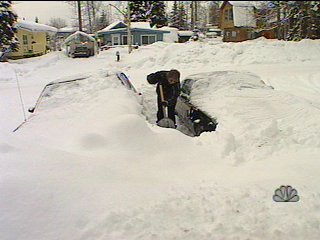Joyce Elliston, whose lived in Alaska since 1967, says she has never seen as much snow as has fallen this winter. (Scott Jensen/KTUU-TV)