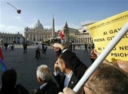 Members of gay and lesbian associations throw flowers as they demonstrate on St. Peter's square at the Vatican, January 13, 2007. The Vatican's second-highest ranking doctrinal official on Monday forcefully branded homosexual marriage an evil and denounced abortion and euthanasia as forms of 'terrorism with a human face'. (Dario Pignatelli/Reuters)