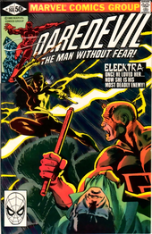 Cover to Daredevil Vol. 1 #168, Elektra's first appearance.