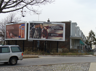 billboard in residential area
