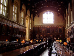 Oxford University provides the setting for Hogwarts Great Hall.