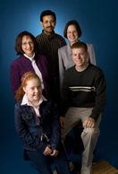 Photo of a group of IAS Members.  Dr. Iqbal, Chemistry Professor; Dr. Lee, Biology and Science Education Professor; Mrs. Boyce, Talented & Gifted Instructor; Cory Millmeyer, High School Student and Iowa Junior Academy of Science Member; and Mackinze, 5th Grade GLOBE Student.