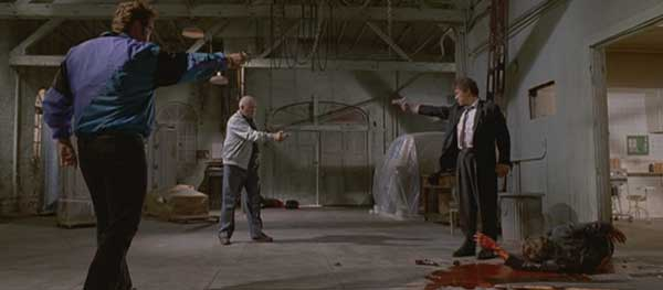 Mr. White (Keitel) in a scene from Reservoir Dogs