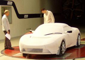 Aerodynamic model of the electric Tesla Roadster sports car