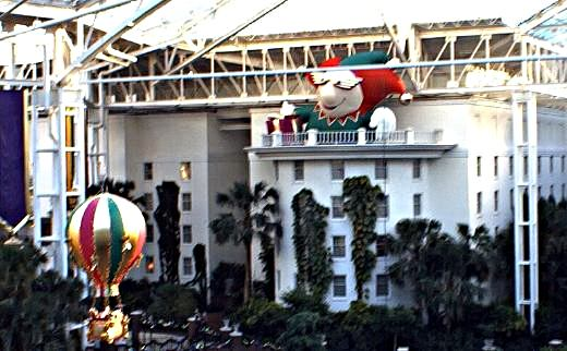 Scary inflatable jester looking down over Opryland