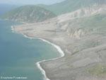 Soufriere Hills : cote Est de Montserrat photographié d'avion