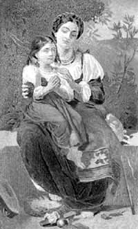 mother teaching child to pray