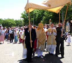 The procession of the Blessed Sacrament