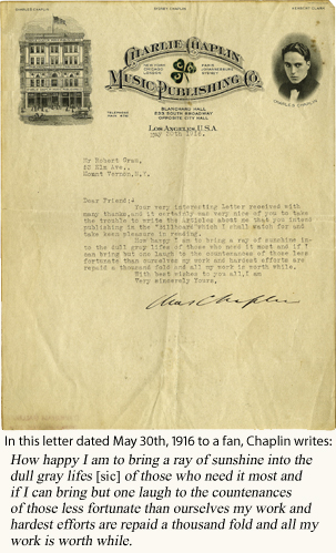 Charlie Chaplin's letter to a fan