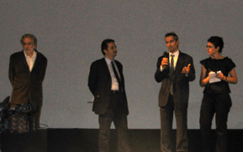 Michael (far left) and Christopher Chaplin (speaking with mic) introducing MODERN TIMES
