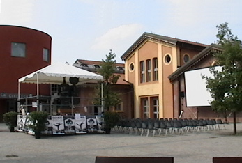 Cineteca courtyard featuring the sopatone film camera