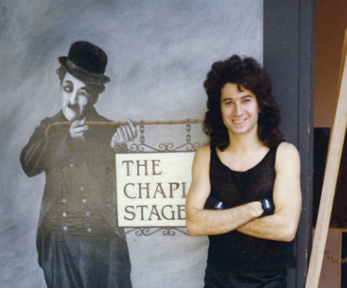 Michael outside the Chaplin studio stage door, Hollywood