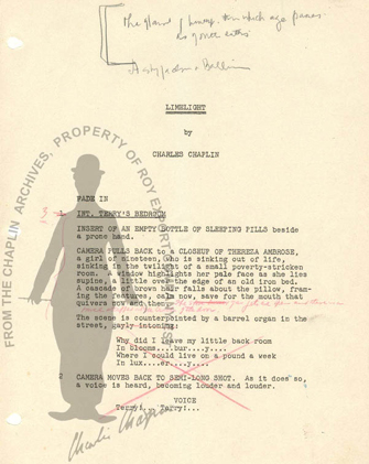 A sample digitized LIMELIGHT script with notes from the Chaplin Archive