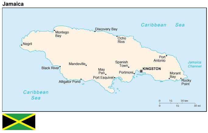 Map and flag of Jamaica.