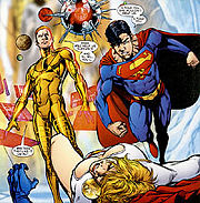 Alexander Luthor II and Superboy-Prime, the main antagonists of Infinite Crisis.  Art by Phil Jimenez.