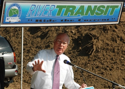 Senator Leahy is shown at the groundbreaking for a new transit facility for Connecticut River Transit in Rockingham.