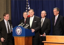 Senator Burr speaks to reporters about the need for a comprehensive energy plan.  The Press Conference took place on June 25, 2008.