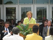 Dole speaks at the dedication of Clinton High School. The new high school was constructed with a $30 million USDA Rural Development Community Facilities loan.  Clinton High School raised $2,000,000 towards this new facility, and many members of the community have contributed to the project.