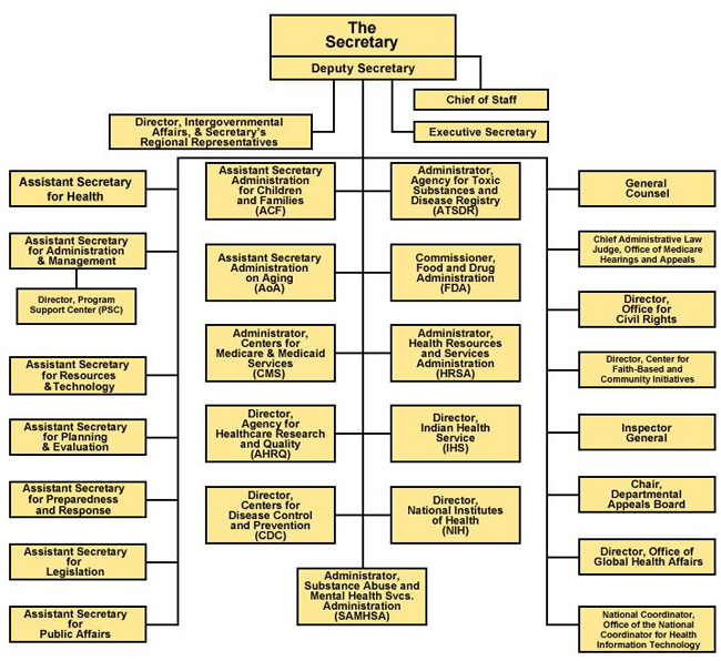 Graphic of Department of Health and Human Services Organizational Chart