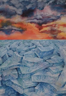Winter?s End, Watercolor, Helen Klebesadel