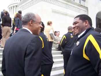 April 8, 2008--Congressman Jefferson with Marlon Favorite of the LSU 2008 Championship team