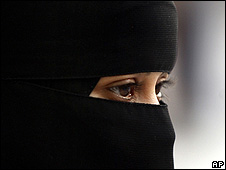 Saudi woman in full face veil, or niqab