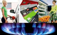 Woman filling petrol tank, gas ring, credit cards, woman shopping - Fifty ways to save money