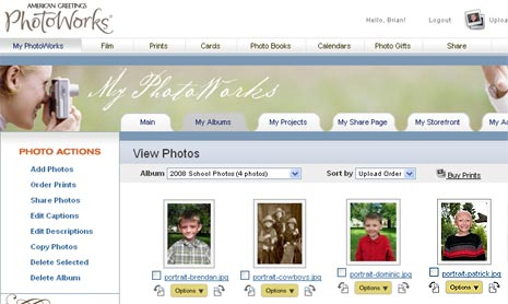 Easy interface to upload your school photos on PhotoWorks.com thanks to American Greetings