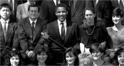Barack Obama among Harvard Law Review editors in 1990 (photo: NYT)