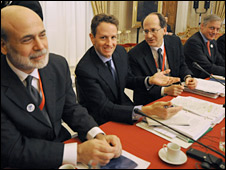 US Chairman of the Federal Reserve System Ben Bernanke, US Treasury Secretary Timothy Geithner,