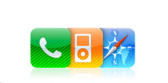 Phone, iPod, and Internet icons.