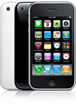 iPhone 3GS, from the front and the back, in black and white.