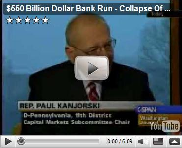 Rep Paul KanJorski, D-Penn, 11th District, Capital Markets Subcommittee Chair, responding to a caller on Washington Journal broadcast on CSPAN