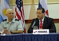 Rodrigo Cigarruista, Esq., Director of the National Maritime Service of Panama, addresses the media during a press conference at the launch of PANAMAX 2007.