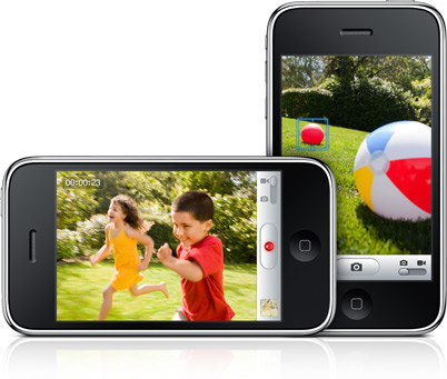Images of the iPhone 3GS camera's tap to focus feature and the video camera interface.