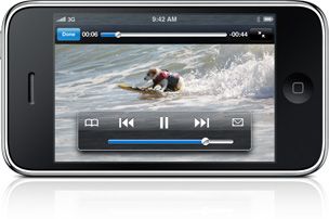 The YouTube application playing a video of a surfing dog.